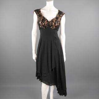 CANDICE FRAIBERGER 4 Black Sequin Lace Top Asymmetrical Skirt Cocktail Dress
