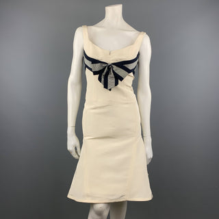 CAROLINA HERRERA Size 6 Cream Silk Flair Skirt Navy Ribbon Cocktail Dress