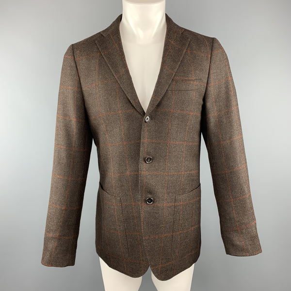 CARUSO 40 R Brown Wool / Silk / Cashmere Notch Lapel Sport Coat