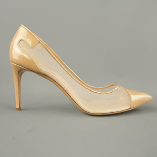 CASADEI Size 12 Beige Mesh Patent Leather Pumps
