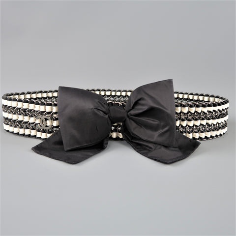 CHANEL Autumn 2006 Black & Cream Woven Silk Ribbon & Chain Bow Belt