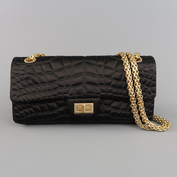 CHANEL Black Alligator Quilted Silk Gold Chain Reissue Shoulder Bag