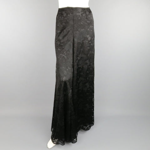 CHANEL Fall 2006 Size 8 Black Viscose / Silk  Lace Extreme Wide Leg Dress Pants