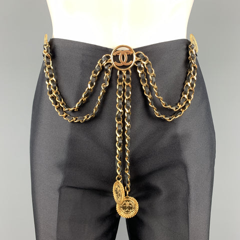 CHANEL Gold Tone Metal Leather Chain Triple 3 Pin Chatelaine Brooch - Season 28