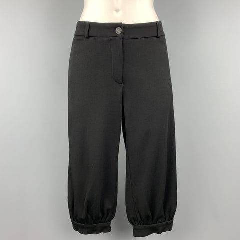 CHANEL Size 10 Black Modal Blend Wide Leg Ruched Capri Pants