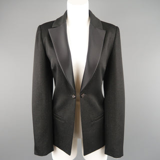 CHANEL Size 10 Black Sparkle Twill Satin Peak Lapel Tuxedo Jacket