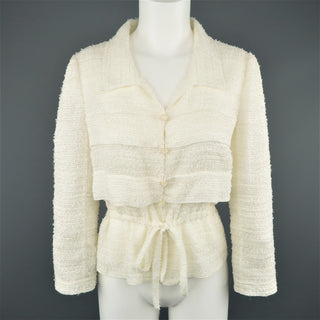 CHANEL Size 6 Cream Textured Silk Blend Drawstring Waist Jacket