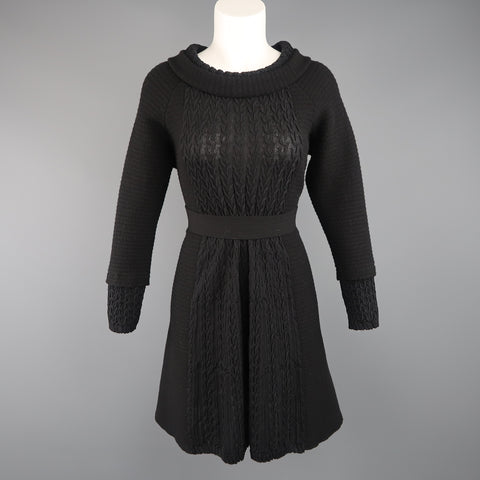 CHANEL Size 8 Black Wool Knit Textured Panel Lion Head Button A Line Dress