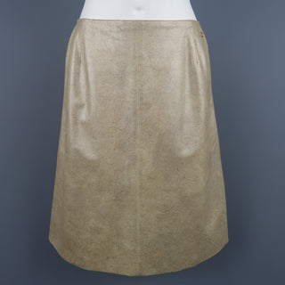 CHANEL Size 8 Metallic Gold Marbled Leather A Line Skirt