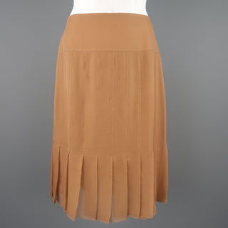 CHANEL Size 8 Tan Silk Chiffon Pleated Pencil Skirt