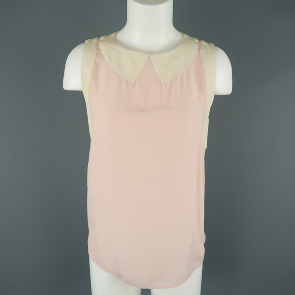 CHANEL Size M Pink & Cream Sleeveless Collar Silk Blouse