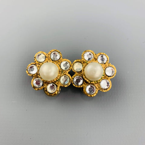 09ef566a9 CHANEL Vintage Gold Tone Faux Pearl & Rhinestone Cluster Clip On Earrings