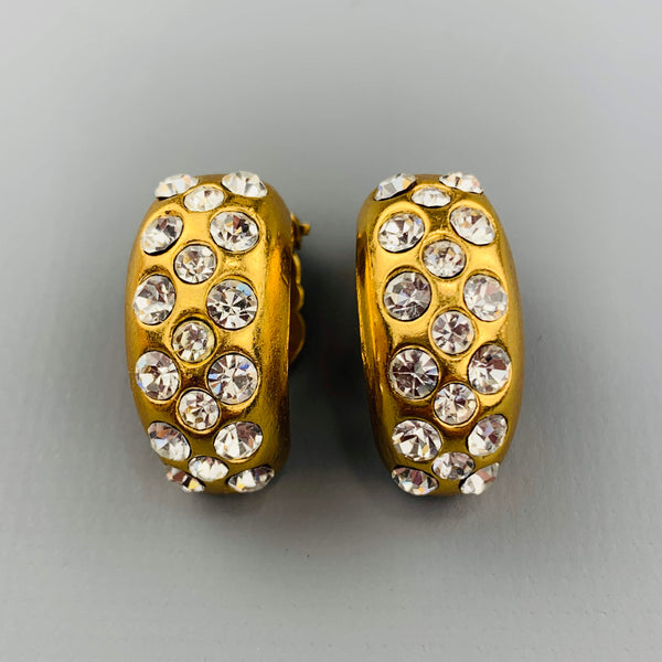 CHANEL Vintage Gold Tone Rhinestone Half Hoop Clip On  Earrings