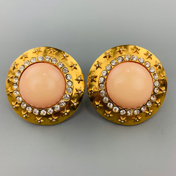 CHANEL Vintage Gold Tone Rhinestones Pink Stone Stars Clip On Earrings