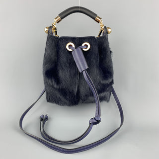 CHLOE Navy Pony Hair GALA Bucket Handbag