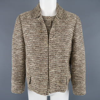 CHLOE Size 10 Beige Tweed Collared Hidden Snap Closure Jacket