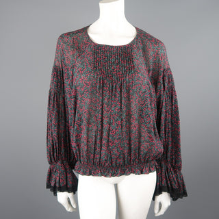 CHLOE Size 2 Black Cotton / Silk Berry Print Peasant Blouse