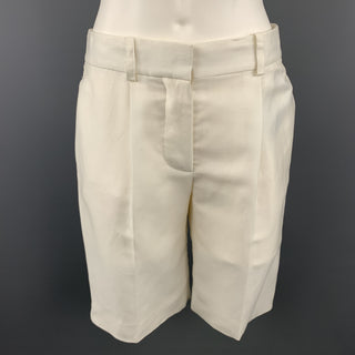 CHLOE Size 2 Cream Silk Pleated Shorts