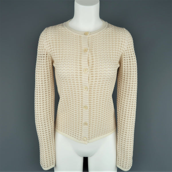 CHLOE Size L Cream Stretch Wool Mesh Knit Crewneck Cardigan