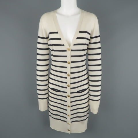 CHLOE Size M Cream & Navy Sailor Striped Cashmere Gold Button Long Cardigan