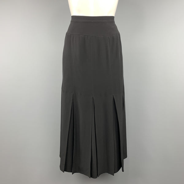 CHLOE Vintage Size 8 Black Pleated Bottom A Line Skirt