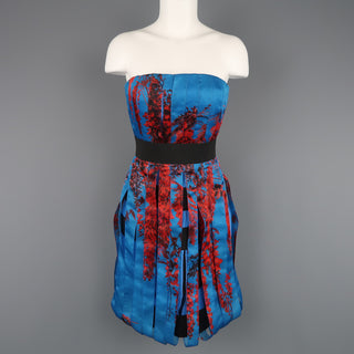 CHRISTIAN DIOR Size 4 Blue & Red Floral Silk Ribbon Bustier Cocktail Dress - Sui Generis Designer Consignment