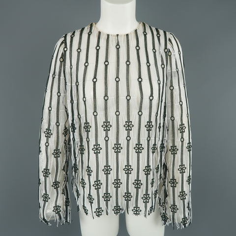 CHRISTIAN DIOR Size XS White & Forest Green Striped Floral Lace Fringe Blouse