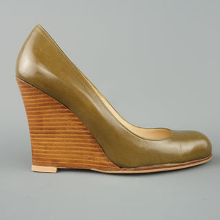 CHRISTIAN LOUBOUTIN Size 6.5 Olive Green Leather Stacked Wedge Pumps - Sui Generis Designer Consignment