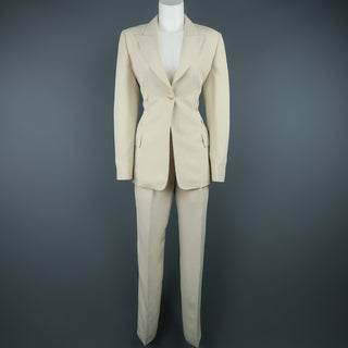 CLAUDE MONTANA Size 8 Beige Peak Lapel Single Button  Pant-Suit