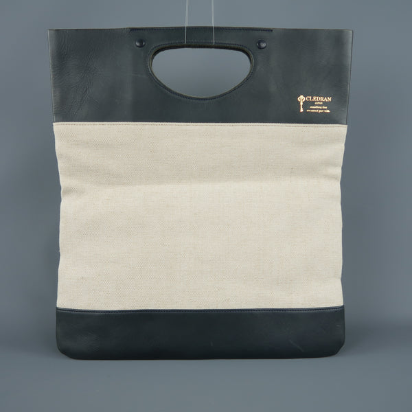 CLEDRAN X EDIFICE Green & Cream Canvas Clutch Tote Shopper Bag