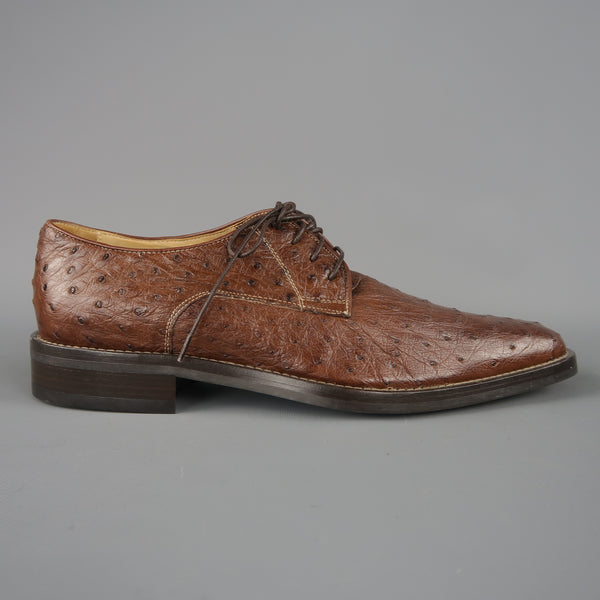 COLE HAAN Size 8 Light Brown Ostrich Textured Lace Up Dress Shoes