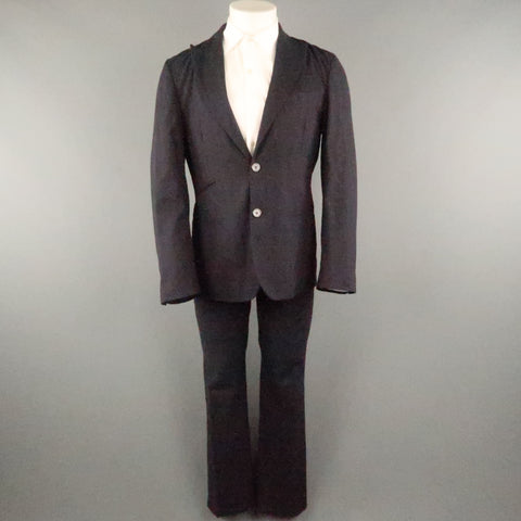 COMING SOON YOHJI YAMAMOTO 38 Navy Stripe Linen Blend 32 30 Peak Lapel Suit