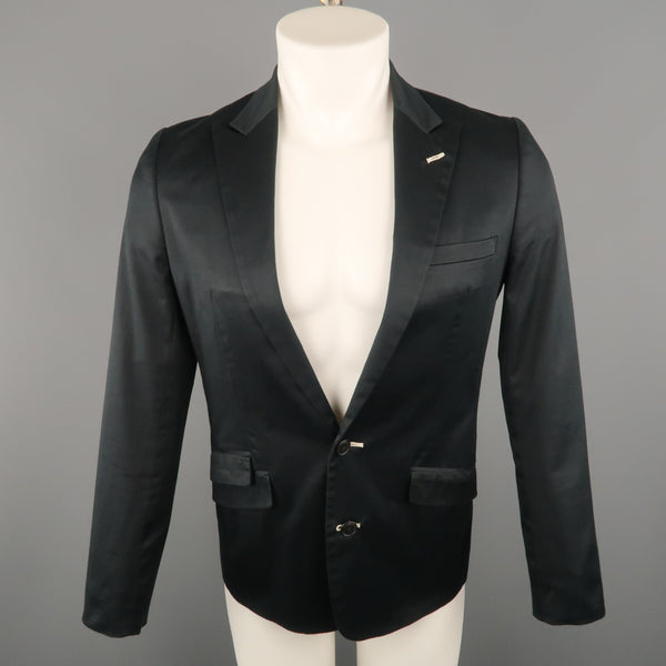 COMME CA DU MODE M Black Solid Cotton Blend Peak Lapel Sport Coat