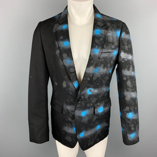 COMME des GARCONS HOMME PLUS SS 2009 M Black & Blue Spray Painted Sport Coat / Blazer / Jacket
