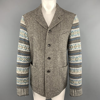 COMME des GARCONS HOMME PLUS L Gray Wool Notch Lapel Fairisle Sleeve Sport Coat