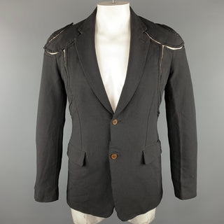 COMME des GARCONS HOMME PLUS M Black Cut Outs Polyester Notch Lapel  Jacket