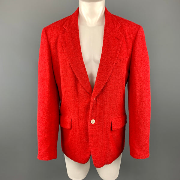 COMME des GARCONS HOMME PLUS M Red Textured Cotton Notch Lapel  Sport Coat