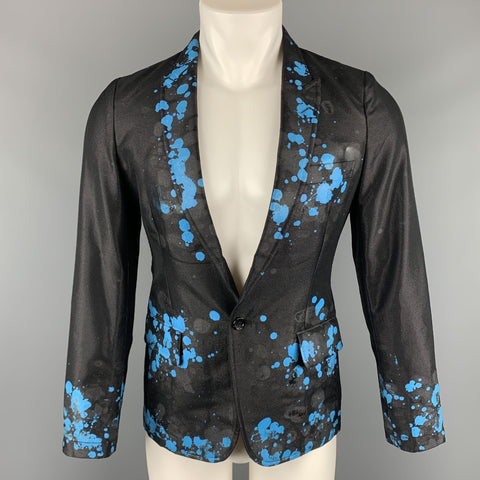 COMME des GARCONS HOMME PLUS S Black Blue Splattered Paint Wool Blend Sport Coat