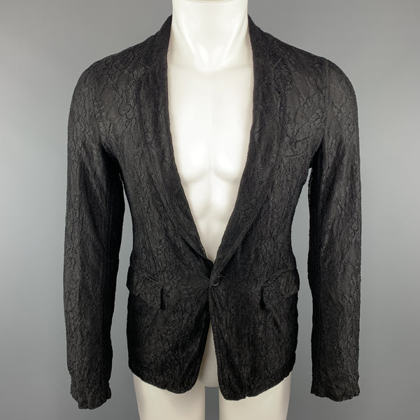 COMME des GARCONS HOMME PLUS S Black Lace Polyester / Rayon Notch Lapel Jacket