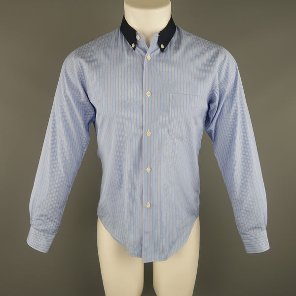 COMME des GARCONS Size M Blue Stripe Cotton Long Sleeve Shirt - Sui Generis Designer Consignment