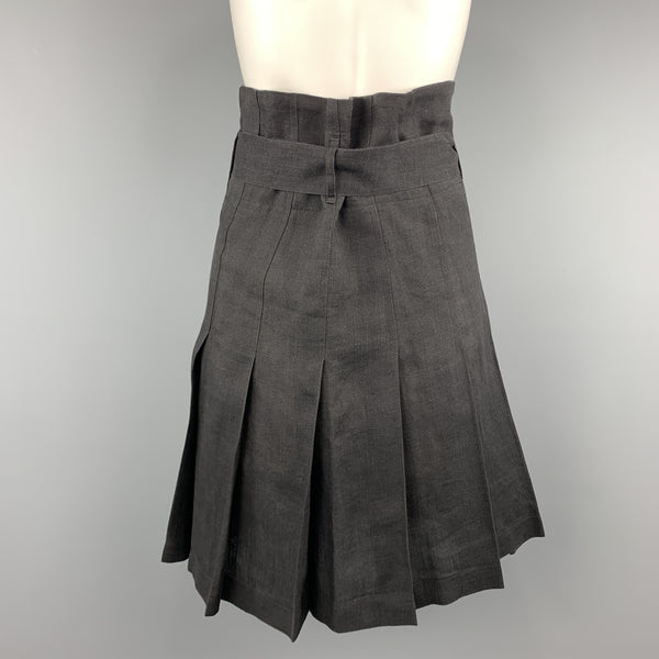 COMME des GARCONS Size S Black Linen Pleated Gathered Band Skirt
