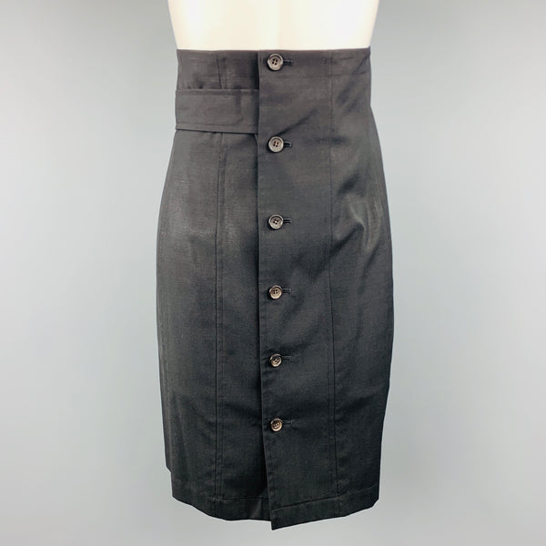 COMME des GARCONS Size S Black Wool Button Up Waistband Skirt