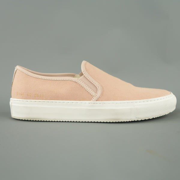 COMMON PROJECTS Size 7 Rose Pink Canvas & Leather Slip On Sneakers