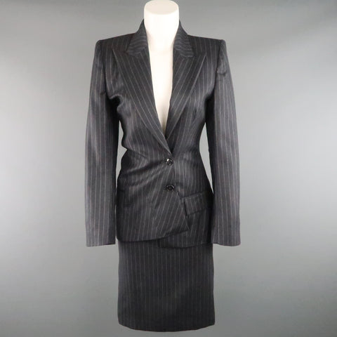 COPPERWHEAT BLUNDELL 12 Gray Pinstripe Wool Asymmetrical Peak Lapel Skirt Suit