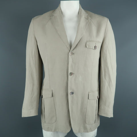 CORNELIANI Chest Size 44 Regular Khaki Solid Linen Blend Notch Lapel Sport Coat