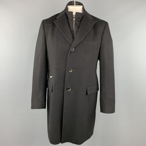 CORNELIANI ID 44 Black Solid Wool Notch Lapel  Coat