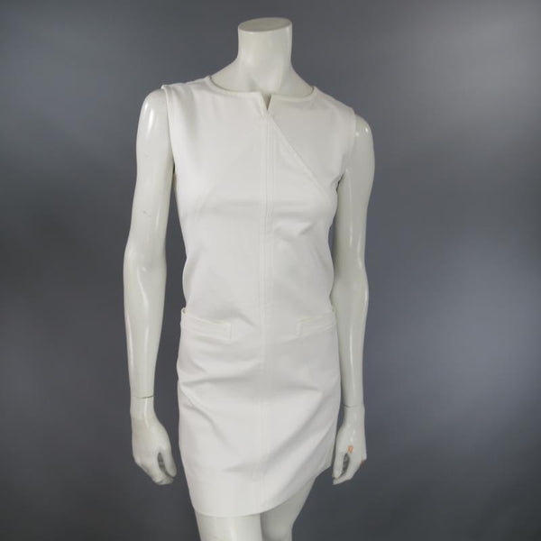 COURREGES Size 6 White Sleeveless A line Pocket Shift Dress