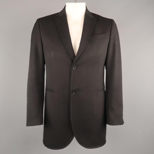 CoSTUME NATIONAL 42 Size 42 Black Solid Wool Peak Lapel Coat