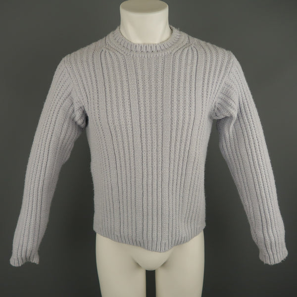 DANIELE ALESSANDRINI Size S Powder Blue Ribbed Knit Wool Blend Crew-Neck Sweater