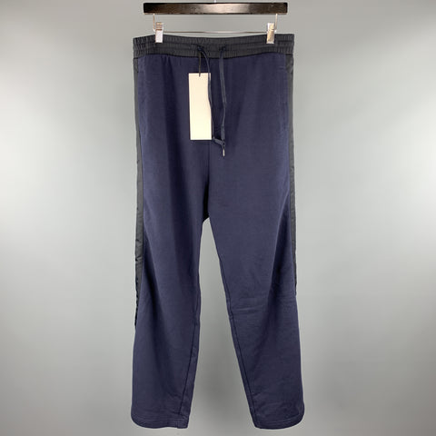 DBYDGNAK Size 32 x 32 Navy Solid Cotton Elastic Waistband Casual Pants